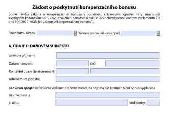 Formulář, jehož prostřednictvím je možné žádat o vyplacení podpory 25 tisíc korun pro podnikatele